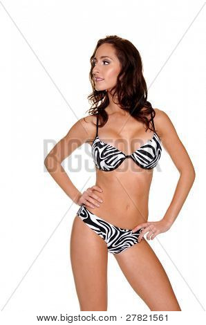 Beautiful young brunette in a animal print bikini