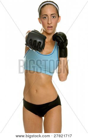mixed martial arts fighter in a camo bikini and MMA style gloves