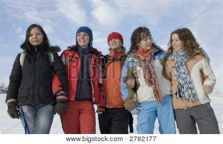 Group Of Sports Teenagers In Mountains