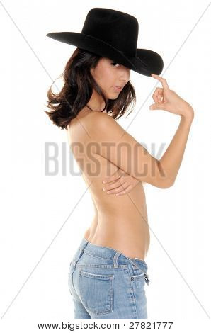 Topless cowgirl in jeans and a big black cowboy hat