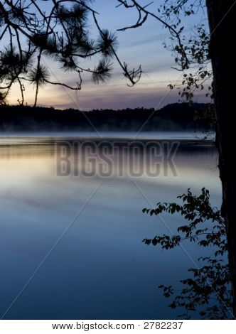 Blue Water Lake At Dawn
