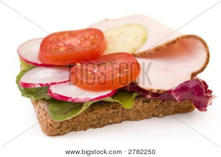 Turkey Sandwich With Tomatoes, Radishes And Cucumbers