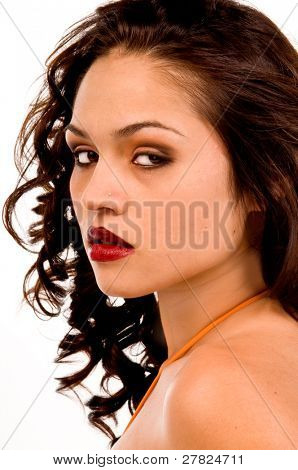 Beauty shot of a multi ethnic woman of Spanish and Native American descent