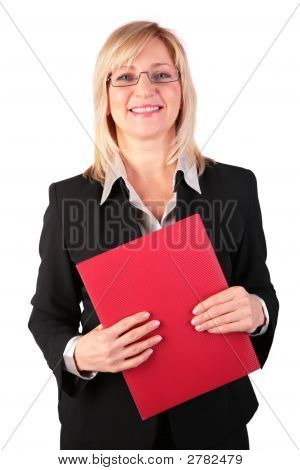 Middleaged Businesswoman With Red Folder