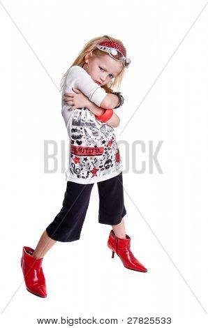 Young caucasian girl playing rock n roll dress up