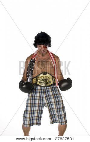 humorvoll Bild eines Mannes als boxer
