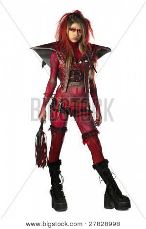 Sexy devil go go dancer in body paint