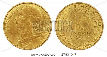 Old 10 Centimes Coin of France of 1985