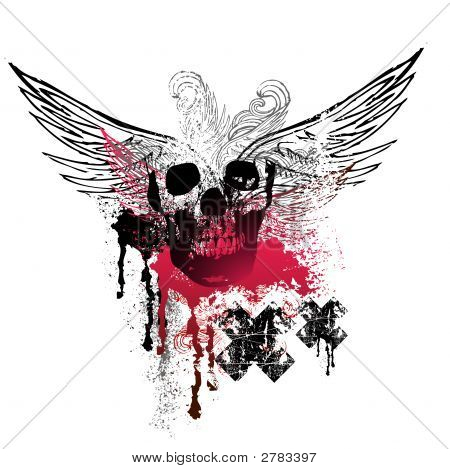Grunge Wings And Skulls