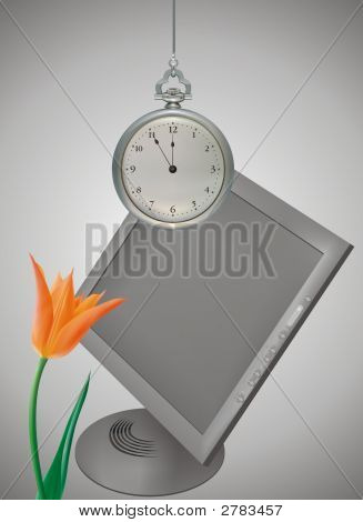 Clock Monitor And Tulip