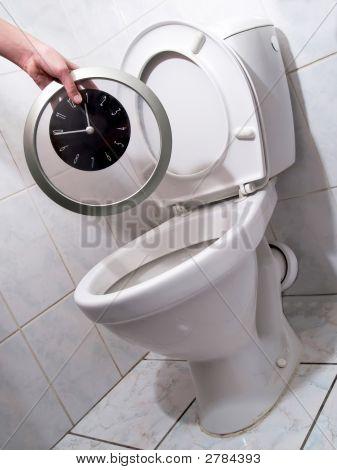 Clock In Toilet