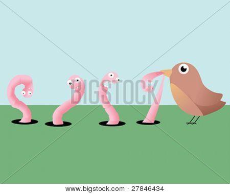 worms and bird cartoon illustration
