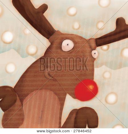 close up reindeer  (illustration or Christmas Card design)