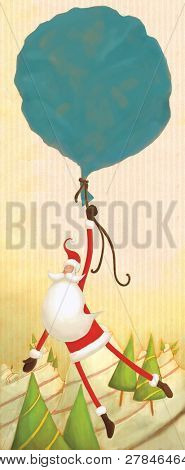 floating Santa (illustration or Christmas Card design)