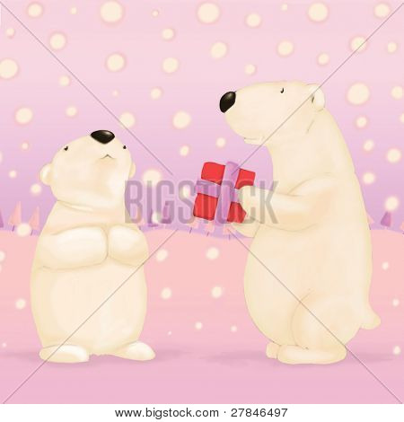 cute polar bears  (illustration or Christmas Card design)
