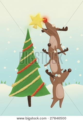 reindeer decorating a Christmas tree  (illustration or Christmas Card design)