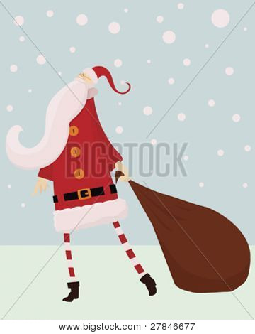 Santa and sack in snow