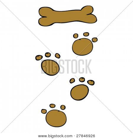 child's drawing of paw prints
