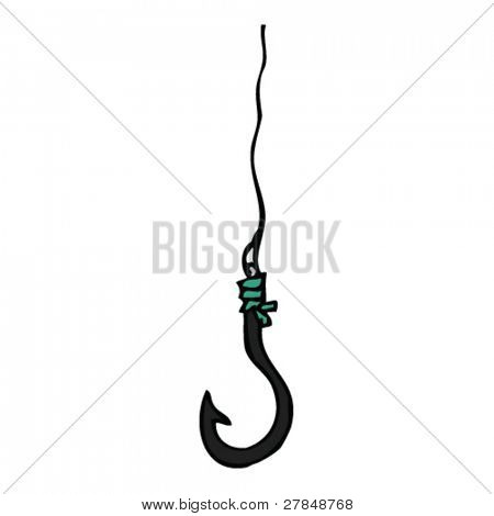 quirky drawing of fishing hook