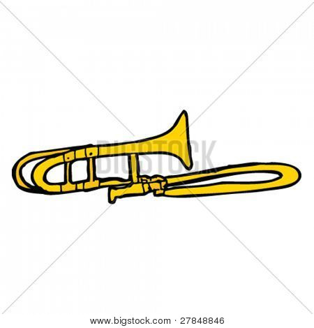 quirky drawing of a trombone