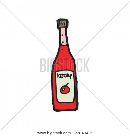 quirky drawing of ketchup