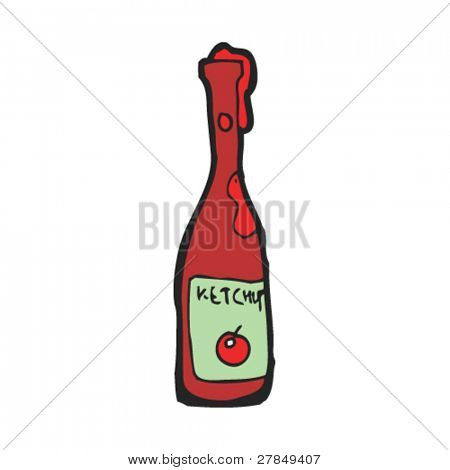 quirky drawing of ketchup