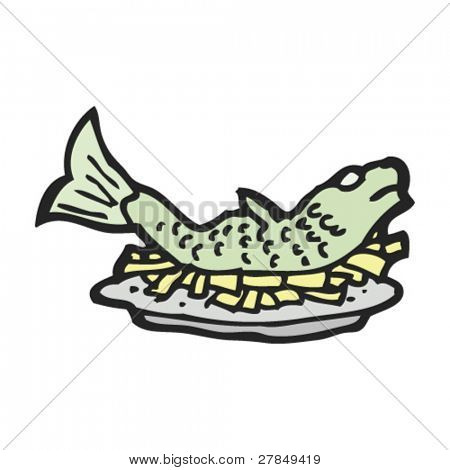 quirky drawing of fish and chips