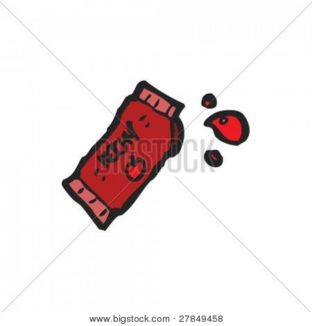quirky drawing of a ketchup packet