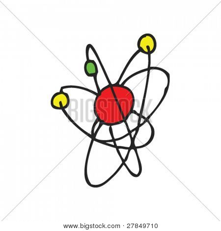 quirky drawing of an atom