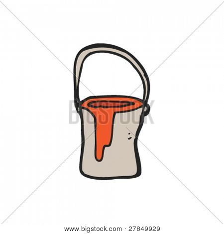 quirky drawing of a paint can