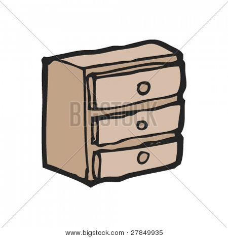 quirky drawing of a chest of drawers