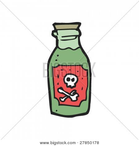 quirky drawing of bottle of poison