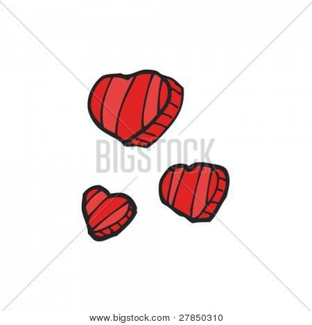 quirky drawing of valentine's day hearts