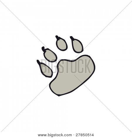 drawing of paw print
