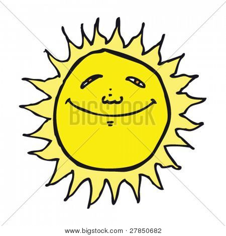 quirky drawing of a happy sun
