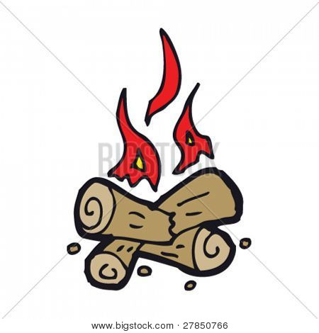 quirky drawing of a camp fire