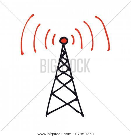 Quirky drawing of a radio tower