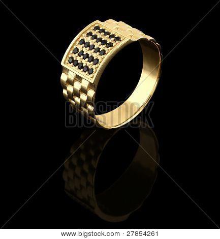 Golden Male Ring On Black