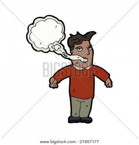 man with smokers breath cartoon