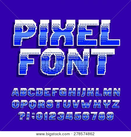 Pixel Alphabet Font  Digital Gradient Letters And Numbers  Retro 80s Arcade  Video Game Typescript  poster