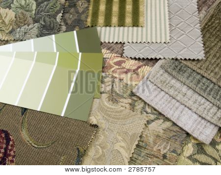 Green And Beige Print Interior Decoration Plan