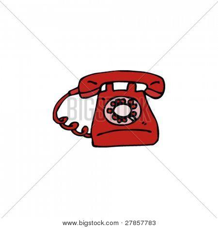 retro red telephone cartoon