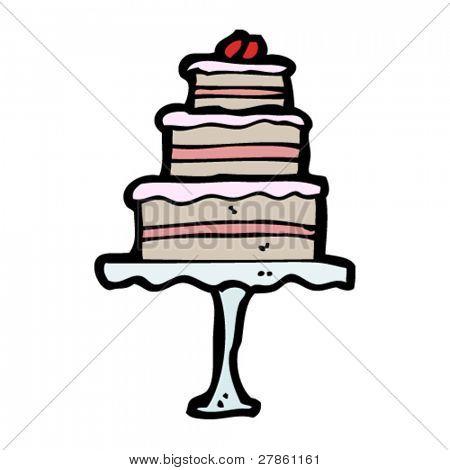 tiered cake on stand cartoon