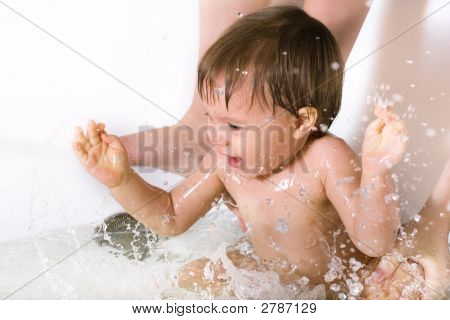 Baby Girl Taking Bath