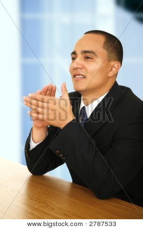 Young Business Man Clapping Hand
