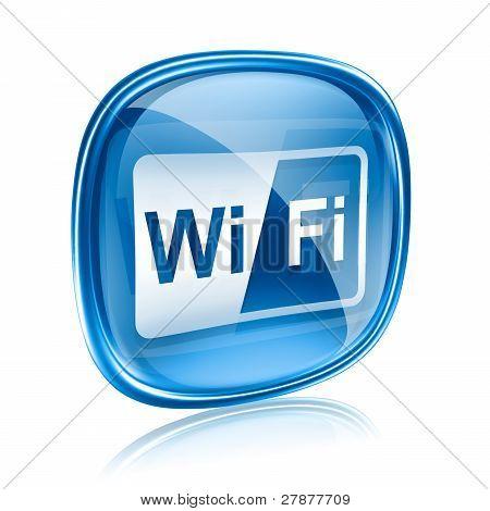 Wi-fi icono azul cristal, aislado sobre fondo blanco