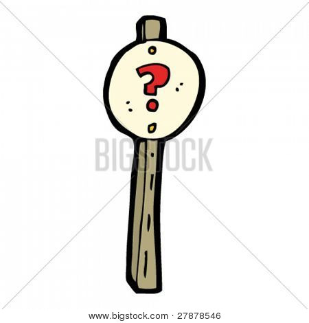 question mark sign post cartoon