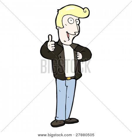 cartoon blond man in leather jacket giving thumbs up