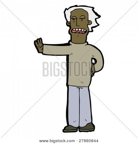 cartoon older man gesturing stop