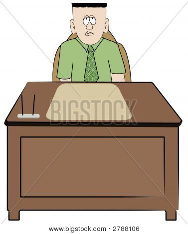 Man Worker Sitting At Desk